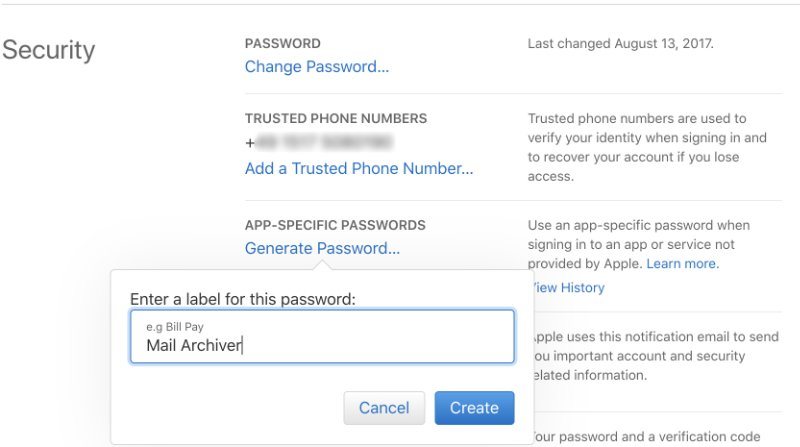 Enter label for app specific password
