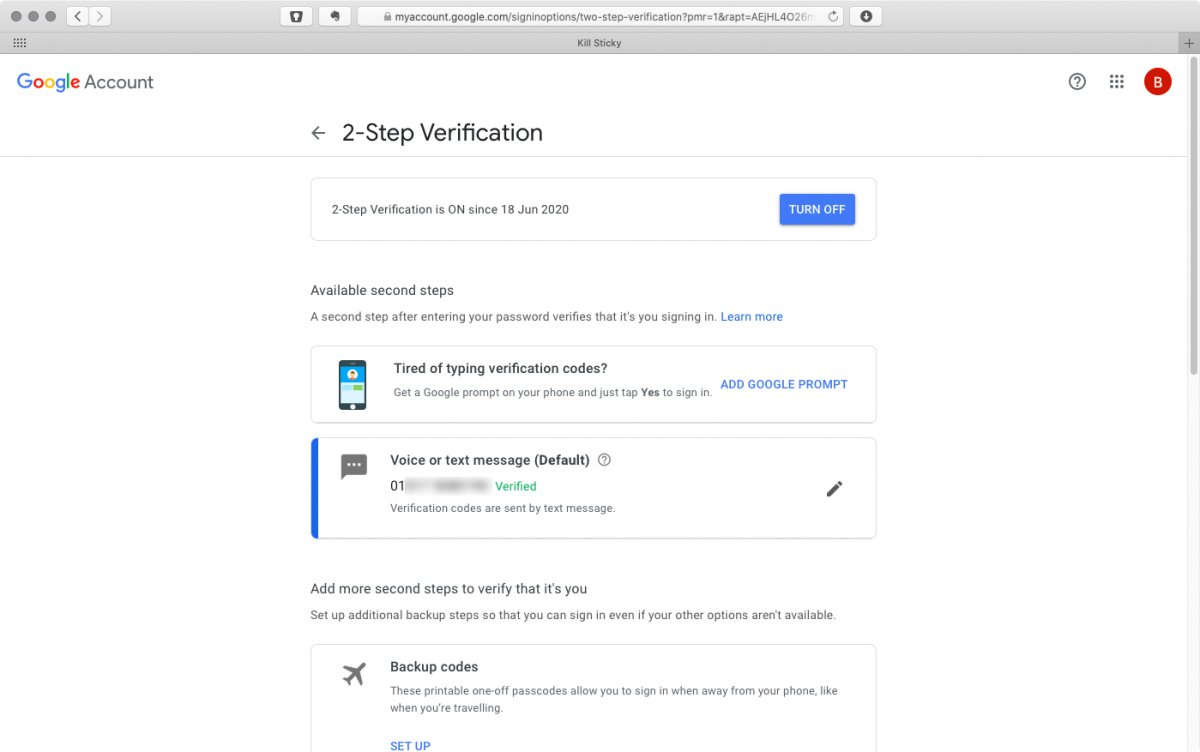 Finished with 2-step verification